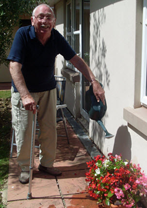 Watering the flowers at the care home